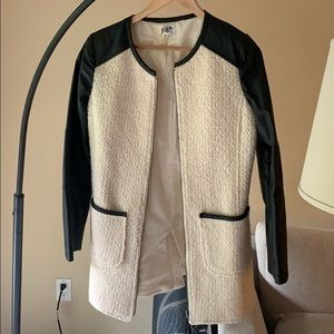 Cream Woven Jacket with Faux Leather Accents
